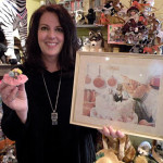 Owner Leslie and Chiquita Banana the mouse at Village Toy Shoppe in New Hope